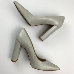 Zara Light Gray / Taupe Chunky Pointed Heels